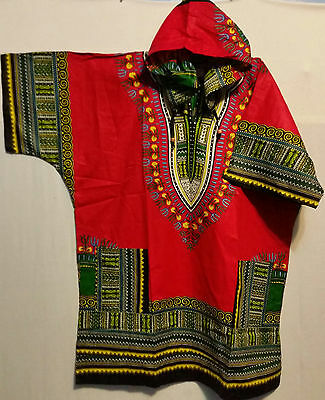 Men Women African Dashiki Hoodie Top W/ Hood Traditional Blouse Free Size Red