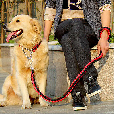 Large Pet Dog Nylon Plaited Rope Lead Fashion Leashes Collar Traction Dogs Chain