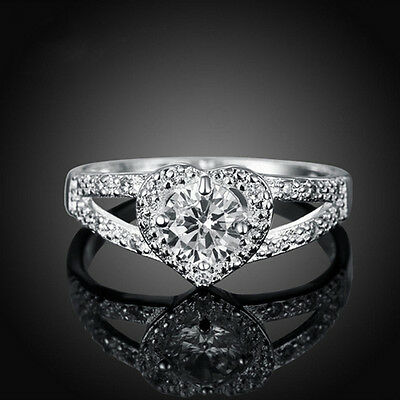 Size6-9 White CZ Heart Shaped Ring Wedding Band Women's Silver Plated Jewelry