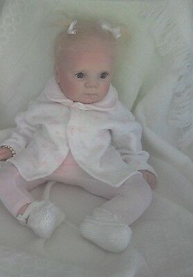 size 00? vintage baby girl or reborn doll quilted cotton jacket coat white pink