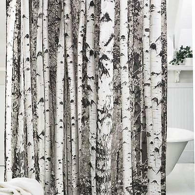 Shower Curtain Fabric Waterproof Bathroom Tree Design Polyester 12 Hooks NEW