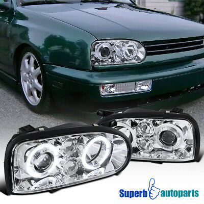 For 1993 1998 Vw Golf Cabrio Mk3 Halo Projector Headlights Chrome Specd Tuning