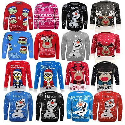 Kids Knitted Turtle Ninja Christams Xmas Olaf Minion Reindeer Rodulph Jumper Top