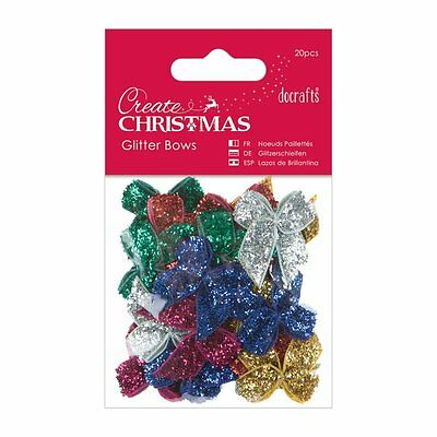 Glitter Ribbon Bows Papermania Pack of 20 Christmas Craft Embelishment PMA367292