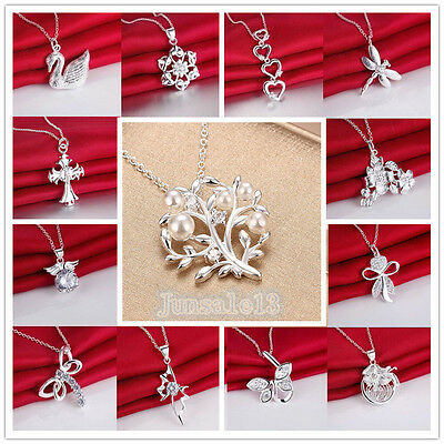 Wholesale Womens Lady Solid 925 Silver Jewelry Pendant Necklace Chains Jewellery