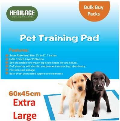Heritage Pets Large Puppy Training Pads Wee Wee Toilet Trainer Mats 60x45cm 200