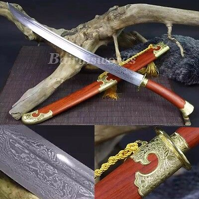 "Traditional Chinese Qing Dynasty Sword Damascus Steel Blade Battle Ready ""清刀"""