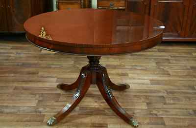 44 Round Dining Table with Leaf | Round mahogany dining table