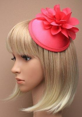Rasberry Red Fascinator Hatinator Satin Cap Flower Clip Wedding Races Hair