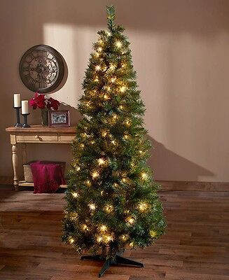 Artificial 6-Ft Pre-Lit Lighted Pop-Up Christmas Tree Clear Lights Home Decor