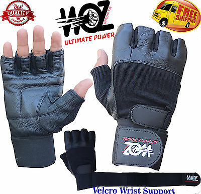 Leather Gym Gloves Weight Lifting Strength  Fitness Training Cross Fit Woz