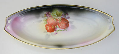Prov Saxe ES Germany Mark Strawberry Relish Dish Tray RS ES Prussia Gold Pink