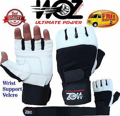 Leather Gym Gloves Weight Lifting Fitness Training Cross Fit Woz Wrist Support