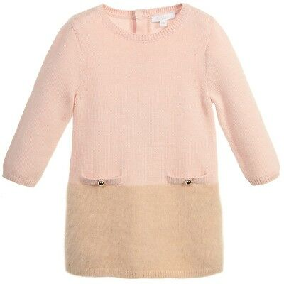Chloe Baby Pink Beige Knitted Sweater Dress 2 Years