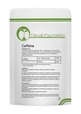 Caffeine 200mg Tablets - Pre Workout Fat Weight Loss Slimming Pills Energy Boost