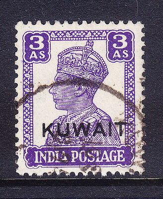 KUWAIT George VI 1945 SG58 3a bright-violet of India opt - fine used. Cat £17