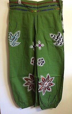 Handmade Hand Embroidered Multi Color Dark Green Pant 100% Cotton