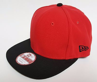 NEW ERA 9FIFTY 2 TONE Blank Strapback Hat Black Red ( 28) Cap Original  Leather b63eac63e79