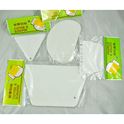 White Plastic 4 in 1 Cake Edge Side Decorating Tools Scraper Smoother Comb DW
