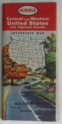 1956 Humble Central And Western United States Road Map                (Inv11121)