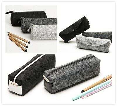 1 X Wool Felt Pencil Case Pen Bag Student Stationery Large Cosmetic Pouch Retro
