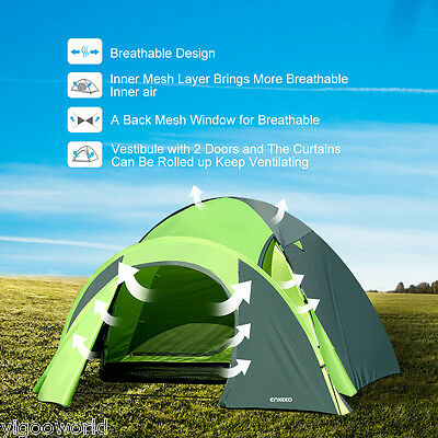 Enkeeo 4 Person 2 Room Family Hiking Camping Instant Cabin Tent Outdoor NEW