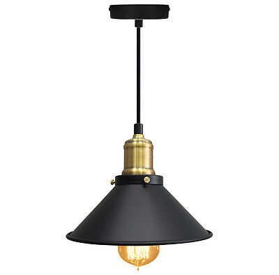 Vintage Black Antique Brass Hanging Ceiling Pendant Shade Light Fitting PA026