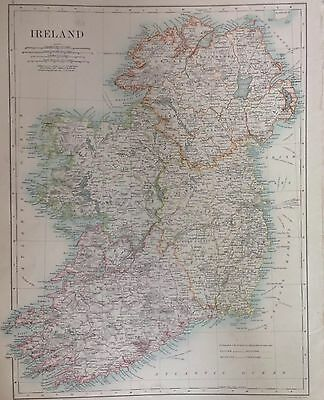Ireland or Scotland (Southern Sheet) 1891 Antique Map Vary Large Double sided