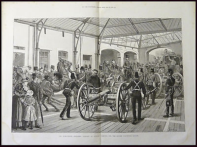 HONOURABLE ARTILLERY COMPANY OF LONDON ANTIQUE 1886 ENGRAVING MILITARY PRINT d1