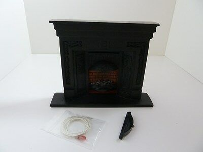 Dolls House Miniature for 1:12 Scale Lounge Black Victorian Fireplace & Bulb