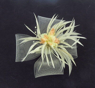 Ivory Cream off white  fascinator clip   Wedding Races