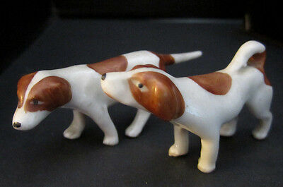 "2 Vintage Mini Pointer Dog Figures Erphila Germany. Porcelain. 2"". Brown Spots."