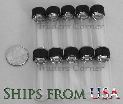 10pc 1.5 OZ DRAM Gold Prospecting Mineral Placer Gold Glass Vials with Cap