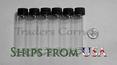 6pc 3 OZ DRAM Gold Prospecting Mineral Placer Gold Glass Vials with Cap