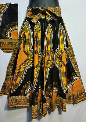 Ankara African Dashiki Print Maxi Women Skirt W/ Belt Pockets Plus Size 4 Panel