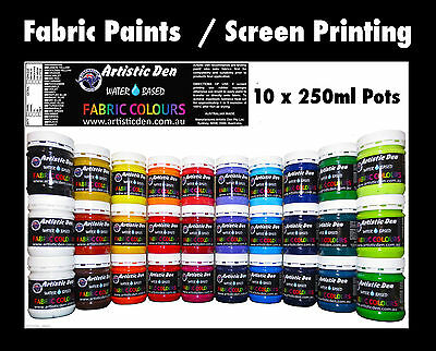 10 x Professional Fabric Paint Screen Ink Print Ink Permaset Compatible 250ml/g