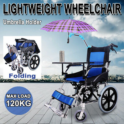 Folding Transport Wheelchair Lightweight Mobility Aid Park Brakes Push Travel AU