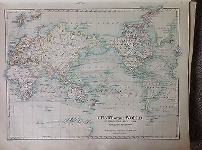 The Chart Of The World - The Hemispheres Antique Map 1891 Large 2 Sided Atlas