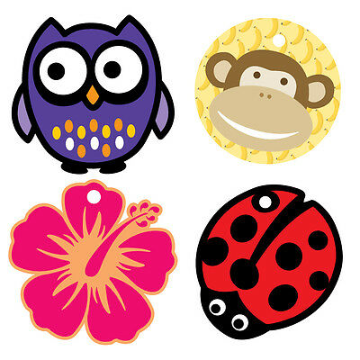 Lot of 4 Bright Star Kids Backpack / Bag Tags for School - Owl, Flowers, Monkey