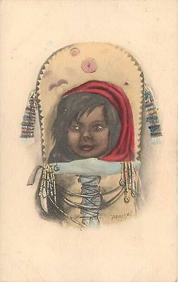 NATIVE AMERICAN  Handcolored   APACHE PAPOOSE  1910  Indian  Postcard