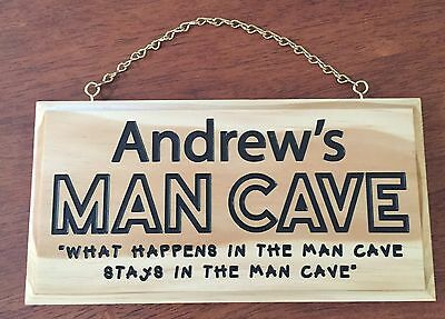 Personalised Man Cave Engraved Wooden Sign