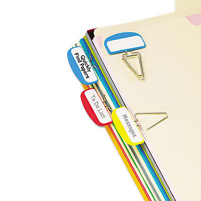PileSmart Label Clip File Organizers, Blue/Red/Yellow, 12/Pack