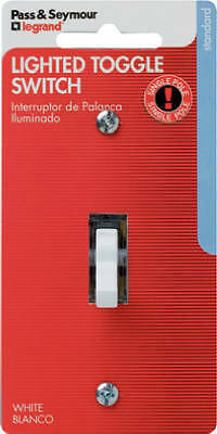 PASS & SEYMOUR 15A White Single-Pole Lighted Toggle Quiet Grounding Switch