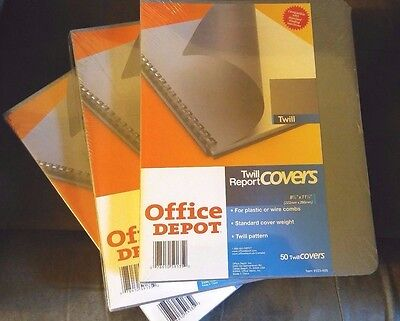 50 pack grey report covers,twill pattern, for plastic or wire combs,Office Depot