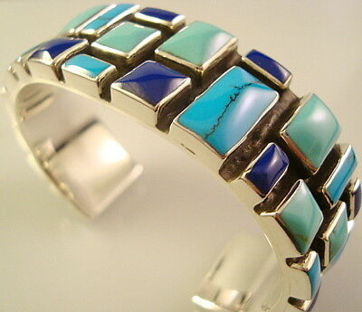 Taxco Mexican 925 Sterling Silver Mosaic Motif Turquoise Cuff Bracelet Mexico