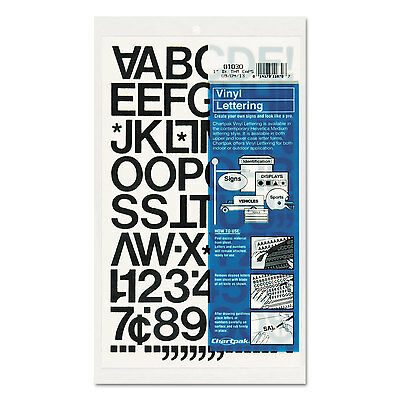 "Press-On Vinyl Letters & Numbers, Self Adhesive, Black, 1""h, 88/Pack"