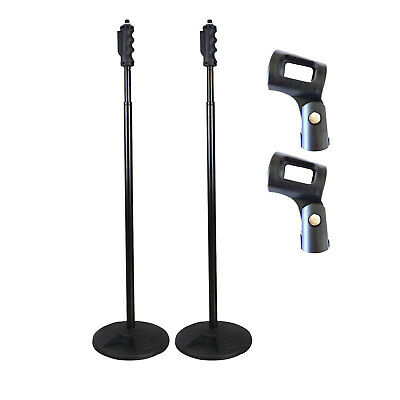 Artist MS093 2Pk Straight Microphone Stand with Round Base - with Clips - New
