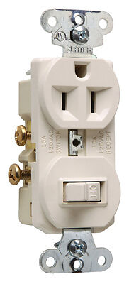 PASS & SEYMOUR - Switch & Outlet, Single-Pole, Light Almond, 15-Amp, 120-Volt