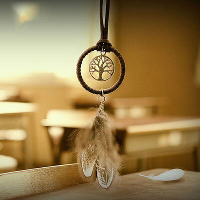 Handmade Dream Catcher With Brown Feathers Flocking Key Ring Key Decor Ornament