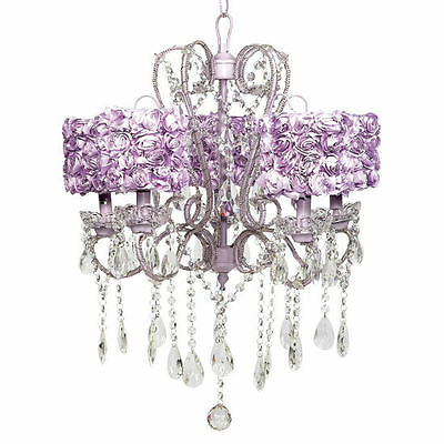 Jubilee 5 Light Whimsical Chandelier With Lavender Rose Garden Shades NEW IN BOX